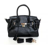China Wholesale Price Black Embossed Genuine Leather Design Lady Tote Bag Handbag #3084A on sale