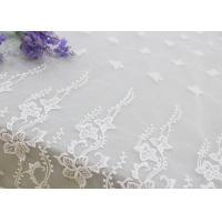 Quality Embroidered Edge Fabric White Floral Lace Vine Netting Tulle For Bridal Gowns for sale