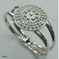 China High quality alloy metal bangles with white plated and rhinstone wholesale
