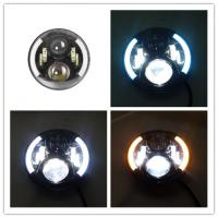 China 7 Inch Round Jeep Wrangler Headlights With Half Halo Ring Angel Eye wholesale