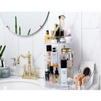 Quality 2 in 1 makeup display rack storage case 360 degree rotating acrylic cosmetic for sale