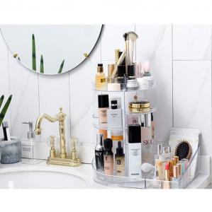 China 2 in 1 makeup display rack storage case 360 degree rotating acrylic cosmetic storage organizer wholesale