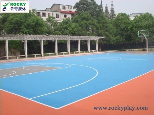 Basketball court flooring project of rockyplay for Cheapest way to make a basketball court