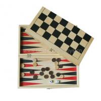 China Wooden Games 3-in-1 Wooden Chess / Checkers /Backgammon set on sale