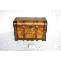 wooden trunk deco with world map leather