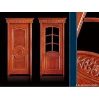 China solid wooden door with glass/double leaf wooden entry door on sale