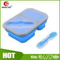 Can print logo Collapsible 2 compartment silicon lunch box for student