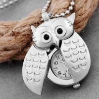China Silver plated pendant necklace owl necklace pocket watch Umhngeuhr wholesale