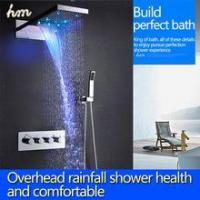 China Top led shower set with 22 inch waterfall shower head wall thermostatic valve wholesale