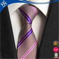 China low moq 10 private label polyester strip tie wholesale