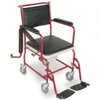 #JL692  Commode Wheelchair With Flip Down Armrests & Detachable Footrests
