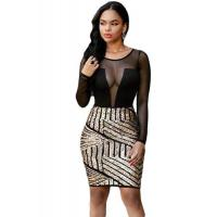 China Club Dresses Long Sleeves Mesh Shadow Sequin Bottom Dress on sale
