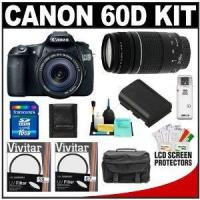 China Canon EOS 60D Digital SLR Camera Body with EF-S 18-135mm IS Lens & 75-300mm III Lens + 16GB Card + B on sale