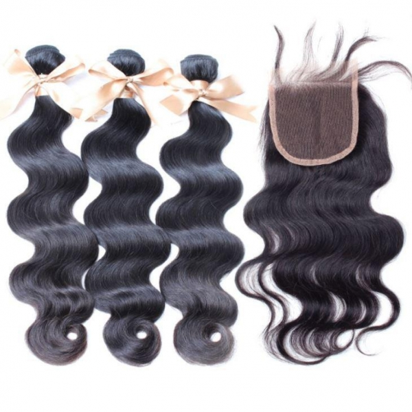 Quality Closure and Blonde Brazilian Hair Weft for sale