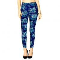 New Women High Waist Blue Flowers Printed Elastic Stretch Slim Fashion Leggings