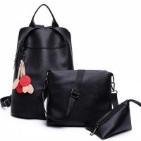 China E2040 Wholesale student leather bags girl leisure backpack set wholesale