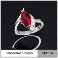China Handmade Jewelry Cheap Wholesale Fashion Simple 925 Italian Silver Garnet Ring wholesale