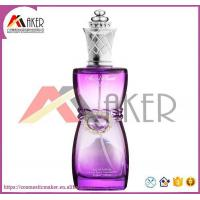China High Quality Glass Perfume Bottle with Diamond Decoration in Purple Color wholesale