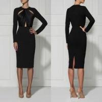 China Black / Red Casual Cut Out Bandage Dress Long Sleeve For Women wholesale
