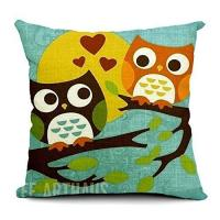 China Belle 18 X 18 Inch Cotton Linen Decorative Throw Pillow Cover Cushion Case,Cartoon Lovers Owl wholesale