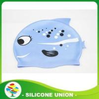 China Custom Cheap Shark Printed Silicone Swimming Cap on sale