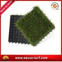 China 25mm Height Interlocking Artificial Grass Tiles for Floor Mat wholesale