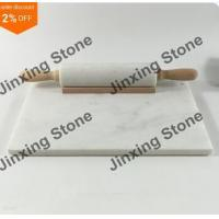 China White Marble Stone Rolling Pin with Wooden Handle Stand & Marble Cutting Pastry Board on sale
