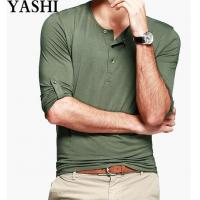 Buy cheap Male Plain Blank Light Slim Fit Green T-Shirts from wholesalers