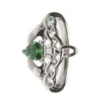 China Sterling Silver Ladies Green CZ Claddagh Ring 14.6mm wholesale