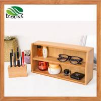 China Decorative Desktop Bamboo Cosmetic Beauty Products Makeup Organizer Storage Tray Caddy wholesale