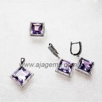 China JS020 Natural Lemon Quartz Gems 925 Silver Jewelry Set wholesale