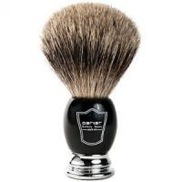 China Parker Black and Chrome Handle Pure Badger Shaving Brush with Stand on sale