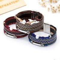 China Pleasant And Enjoyable PU Leather Pearl Wax Rope Magnetic Bracelet on sale