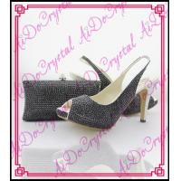 China Aidocrystal black crystal women party dress shoe with bag ladies shoes and bag set wholesale