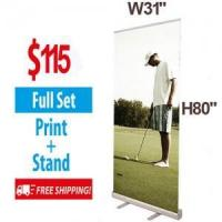 """China W31.5"""" Budget Retractable Banner Stand with Banner & Bag wholesale"""
