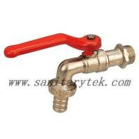 China Code: V26-003 Bibcock valve tap with hose nipple - red steel handle wholesale