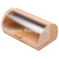 China Bread Box made of pure Bamboo with stylish easy glide cover with handle wholesale