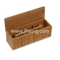 Elegant bamboo box with 10-1/4-Inch Triple Scoop Box