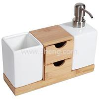 China NewDesign Bamboo Bath Accessories,Countertop Organizer And Soap Pump Set wholesale