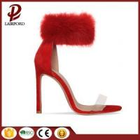 China red fur high heel sweet ankle sandals on sale