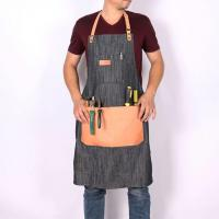 China Fashionable Mens Denim Apron for Work with Big Leather Pockets on sale