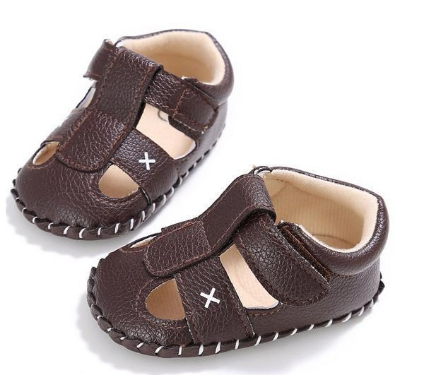 Quality deep brown soft leather walking rubber sole infant toddler closed toe baby boy sandals for sale