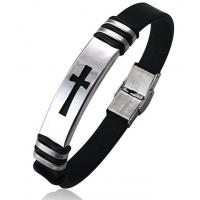 Jstyle Jewelry Mens Stainless Steel Religious Black Rubber Cross Bracelet