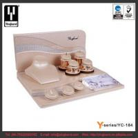 China Champagne Color Wooden PU Jewelry Display Set Beautiful Design for Necklace Earring Ring wholesale