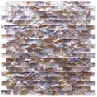 China Mini Brick Natural Oyster Shell Tile , Split Faced Pool Mosaic Tiles wholesale