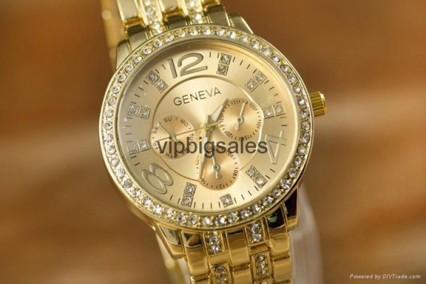 China Wholesale Price Geneva Watch Wrap Quartz Crystal Watch Rose Gold Color Casual