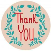 China 30 Personalized 1.5 inch Round Craft Paper thank you Labels Laser Printed Stickers on sale
