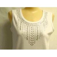 China Christine Alexander white tank shirt baguette & silver stud size S, M, & 3x wholesale