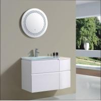 China Mounted Style With Single Glass Wash Basin Cabinet For Project Round Mirror MDF Cabinet wholesale