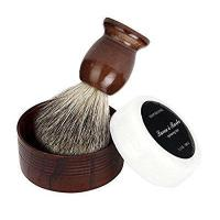 China Men Shaving Brush Set,Malloom ZY Badger Hair Shaving Brush + Natural Wood Mug Bowl + Hand Made Soap on sale
